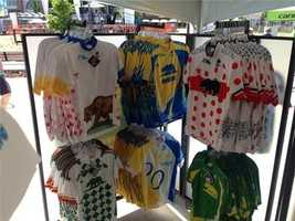 Amgen Tour of California jerseys for sale in Folsom. (May 12, 2014)