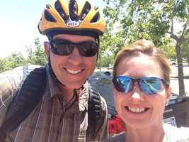 The KCRA 3 morning team unites: Deirdre and Brian Hickey at Stage 2 of the Amgen Tour of California in Folsom.