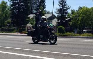 Folsom police along the perimeter of Stage 2's time trial. (May 12, 2014)