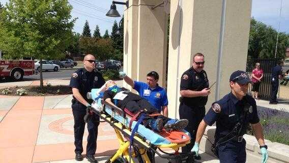 Student on stretcher bus crash