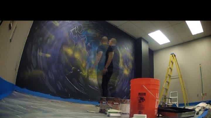 "Watch a timelapse video as artist David Garibaldi creates the ""Swirl of Sacramento"" for the KCRA newsroom."