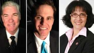 From left, candidates Tom Torlakson, Marshall Tuck and Lydia Gutierrez.