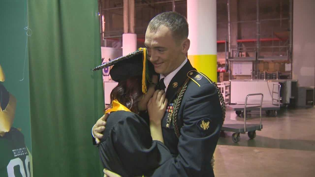 Ashley McDaniel got a big surprise when her brother showed up at her graduation, home from Afghanistan.