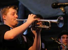 A member of the Curb-Side Trad Band from Chilliwack, B.C., plays at the Sacramento Music Festival and Jubilee on May 23.