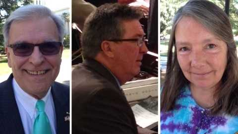 The candidates from left are Doug Haaland, Ken Cooley and Janice Bonser (May 27, 2014).