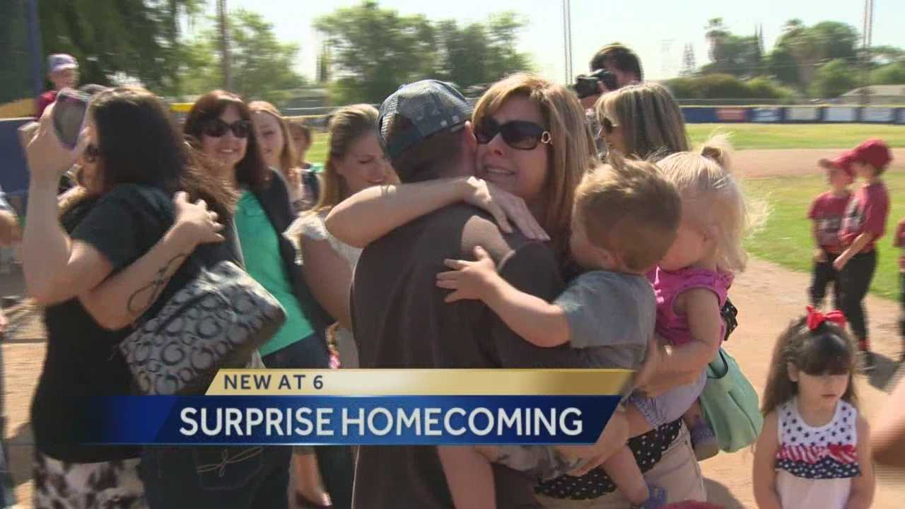 Andrew Jensen returned home from his second overseas deployment to surprise his family at his son's little league game.