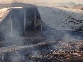 Officials with Cal Fire said the buildings that were destroyed covered about 200,000 square feet.