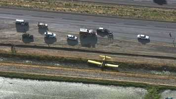 A crop duster made a hard landing Monday morning along Highway 99.