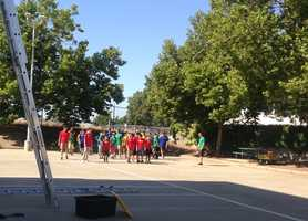 Kid's Camp teams are divided by color. At the end of the week, the team with the most points gets to have dinner at a fire station.