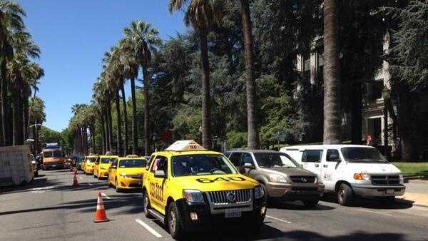 A huge taxicab protest was held at the state Capitol because of a bill aimed at regulating ridesharing.