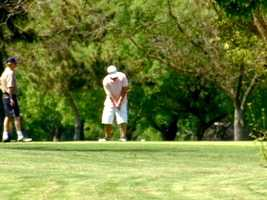 22. Giving it your best shot on an area golf course, such as Darkhorse, Apple Mountain, Haggin Oaks or Teal Bend.