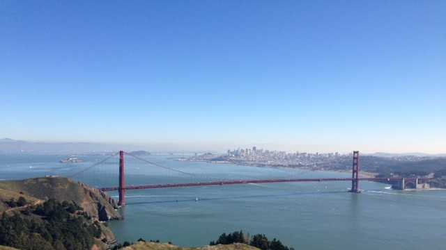 5. Taking a day trip to San Francisco, where summers often feel like fall.