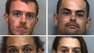 Joshua Lee Sligar, 28,, Michael Wayne Vonalmen, 28, Crystal Lynn Rothgery, 24, Georgia Maria Forge, 28