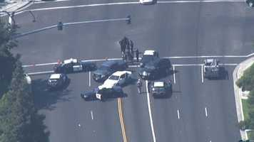 A high-speed pursuit up and down San Joaquin County that included the suspects firing shots at ensuing officers finally ended Wednesday afternoon with at least one person deadand at least one other in custody.