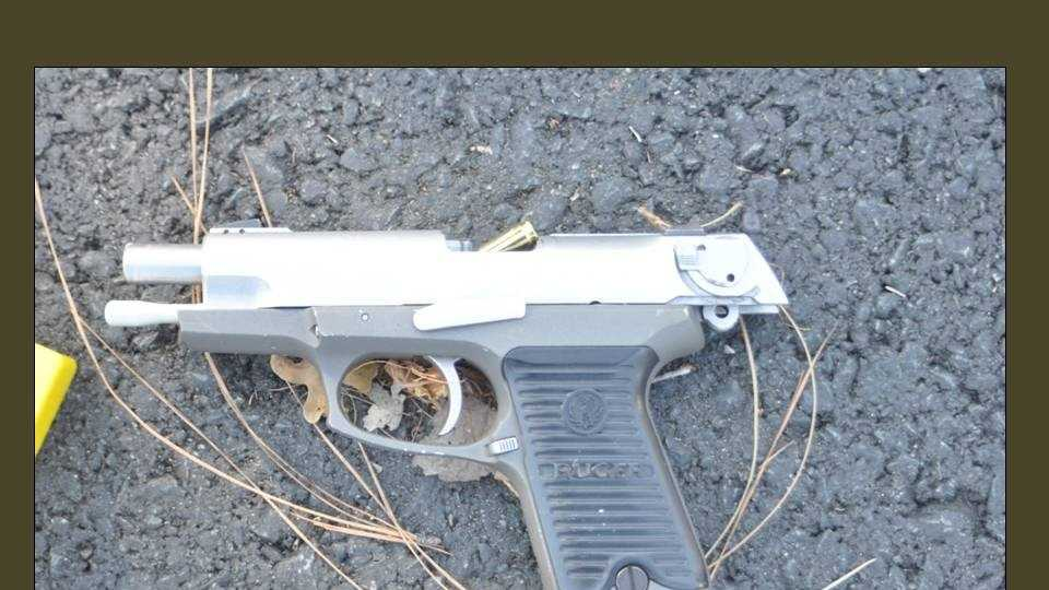 A handgun used by the suspects in Wednesday's shootout. (July 17, 2014)