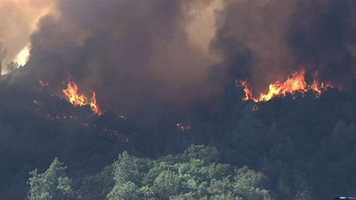 LiveCopter3 photos of a grass fire burning near Plymouth in Amador and El Dorado counties. (July 25, 2014)