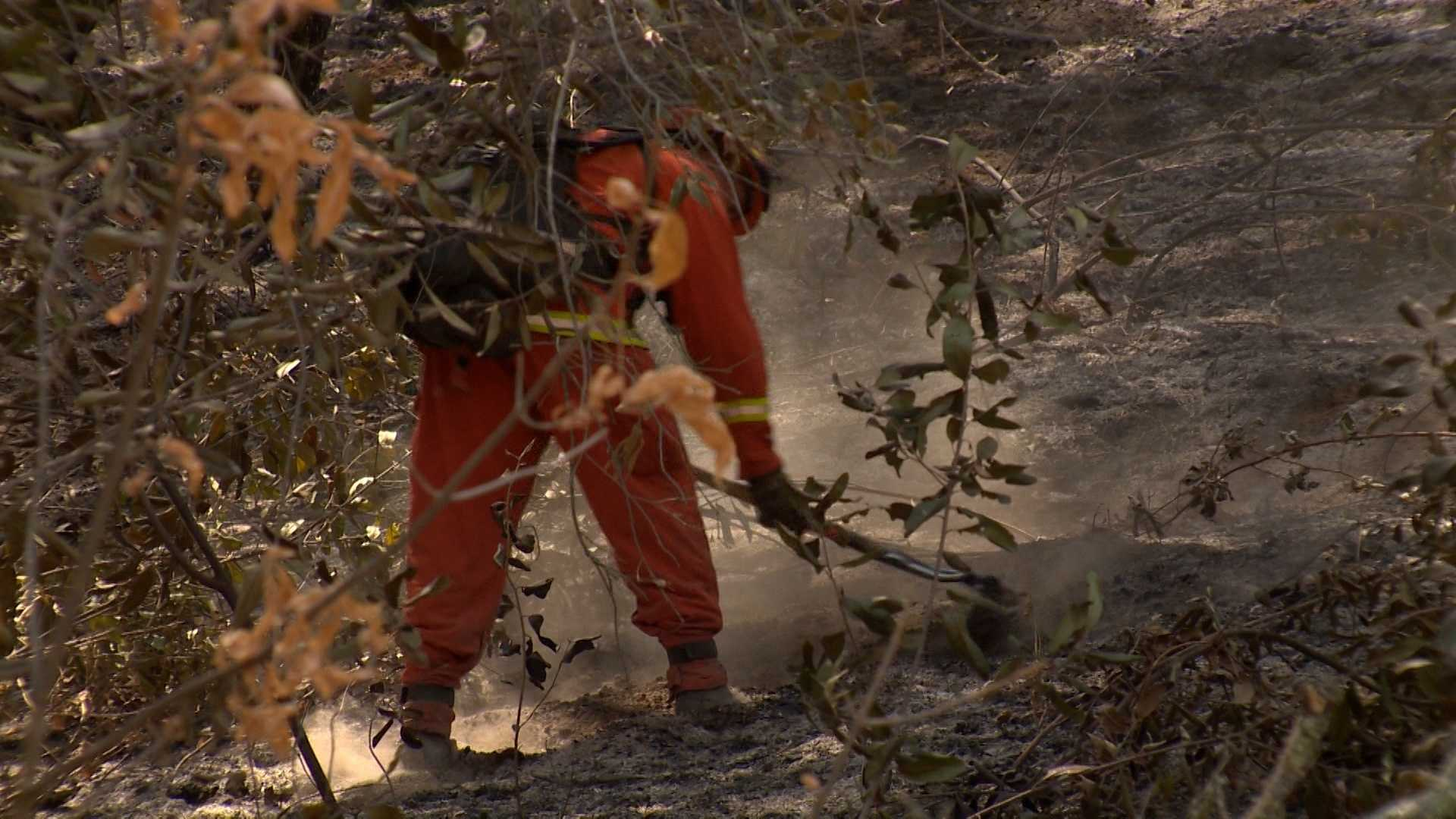Crews worked to clear lines along the fire burning in El Dorado and Amador counties. (July 27, 2014)