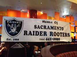 Oakland Raiders fans gathered at Dave and Busters in Roseville on Tuesday for a live taping of the Raider Blitz show. (Aug. 5, 2014)