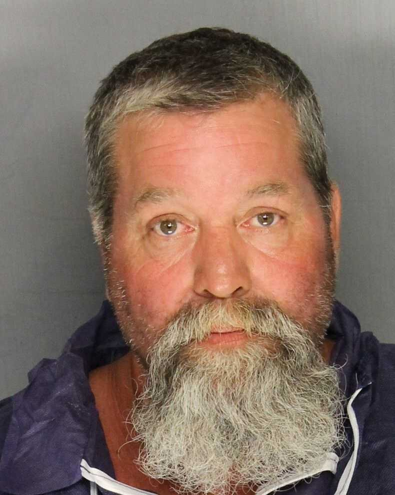 A Stockton father (Timothy Hagen, pictured)and son were arrested and accused of killing a man after San Joaquin County Sheriff's Detectives said an argument between neighbors escalated into a gun fight.