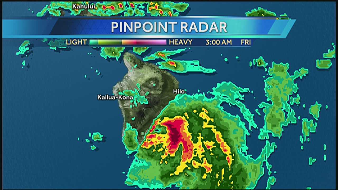 Tropical Storm Iselle is causing rainfall totals on the Big Island to rise rapidly Friday morning.