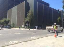 The first phase of demolition at the site of the new downtown arena in Sacramento is under way. (Aug. 13, 2014)