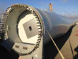 When the blades are at the higest position, the turbine is nearly 400 feet tall.