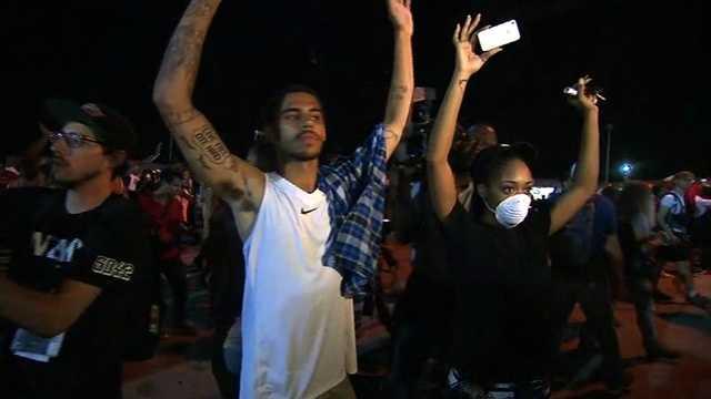 Ferguson protesters Tuesday night