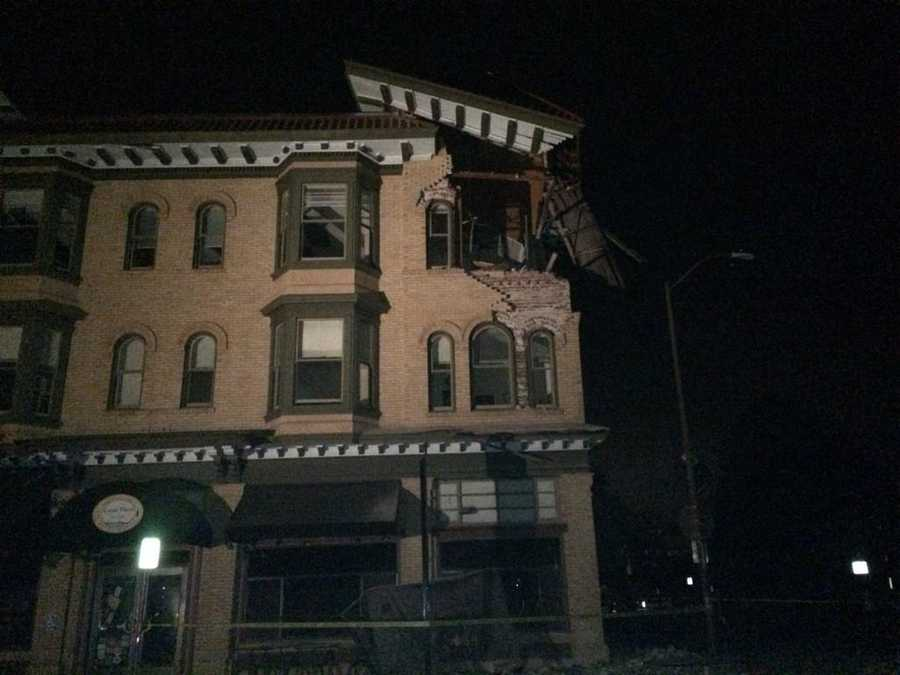 A downtown Napa building damaged in Sunday morning's earthquake. (Aug. 24, 2014)