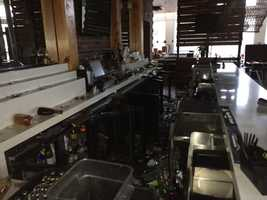 A bar in downtown Napa sustained damage in Sunday morning's earthquake. (Aug. 24, 2014)