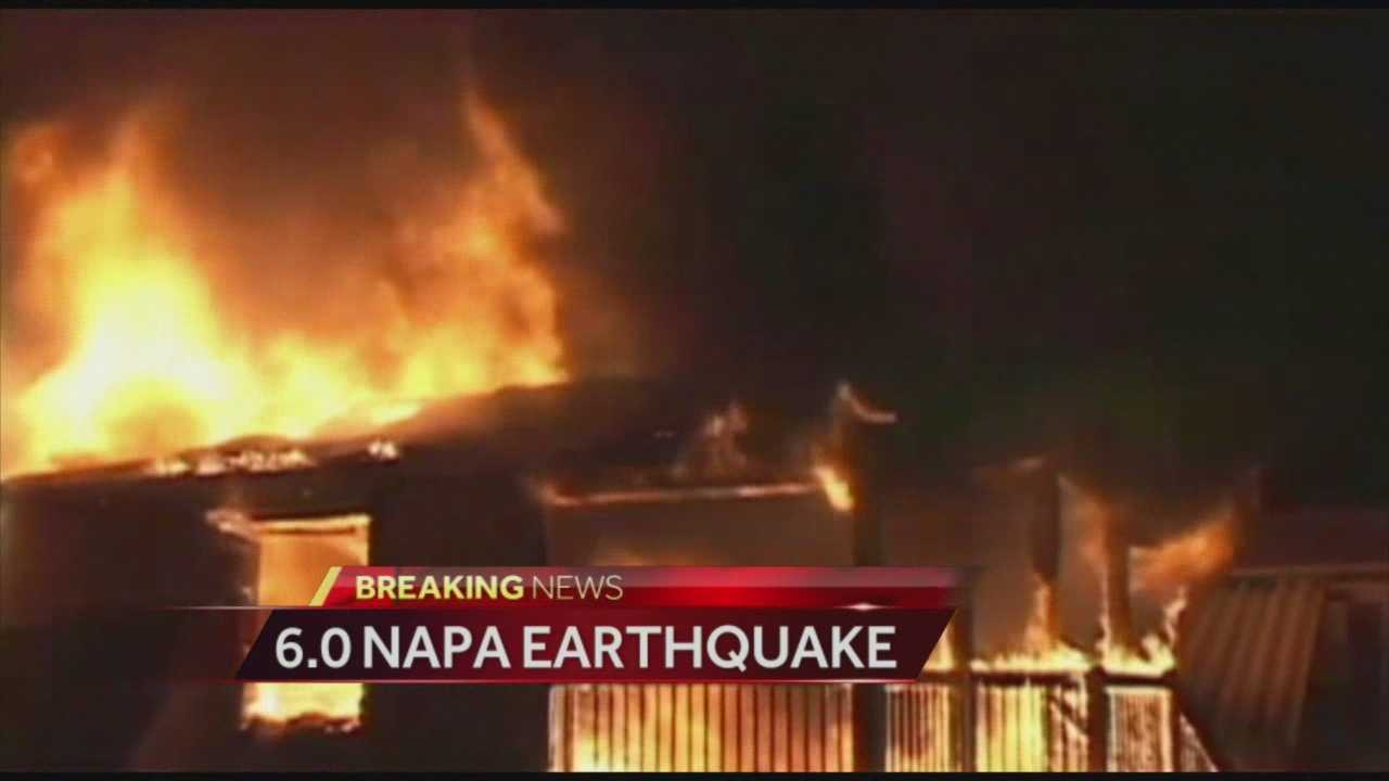 A fire broke out at a mobile home park in Napa after a 6.0-magnitude earthquake.
