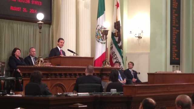 Mexican President Enrique Pena Nieto met Tuesday with lawmakers in Sacramento (Aug. 26, 2014).