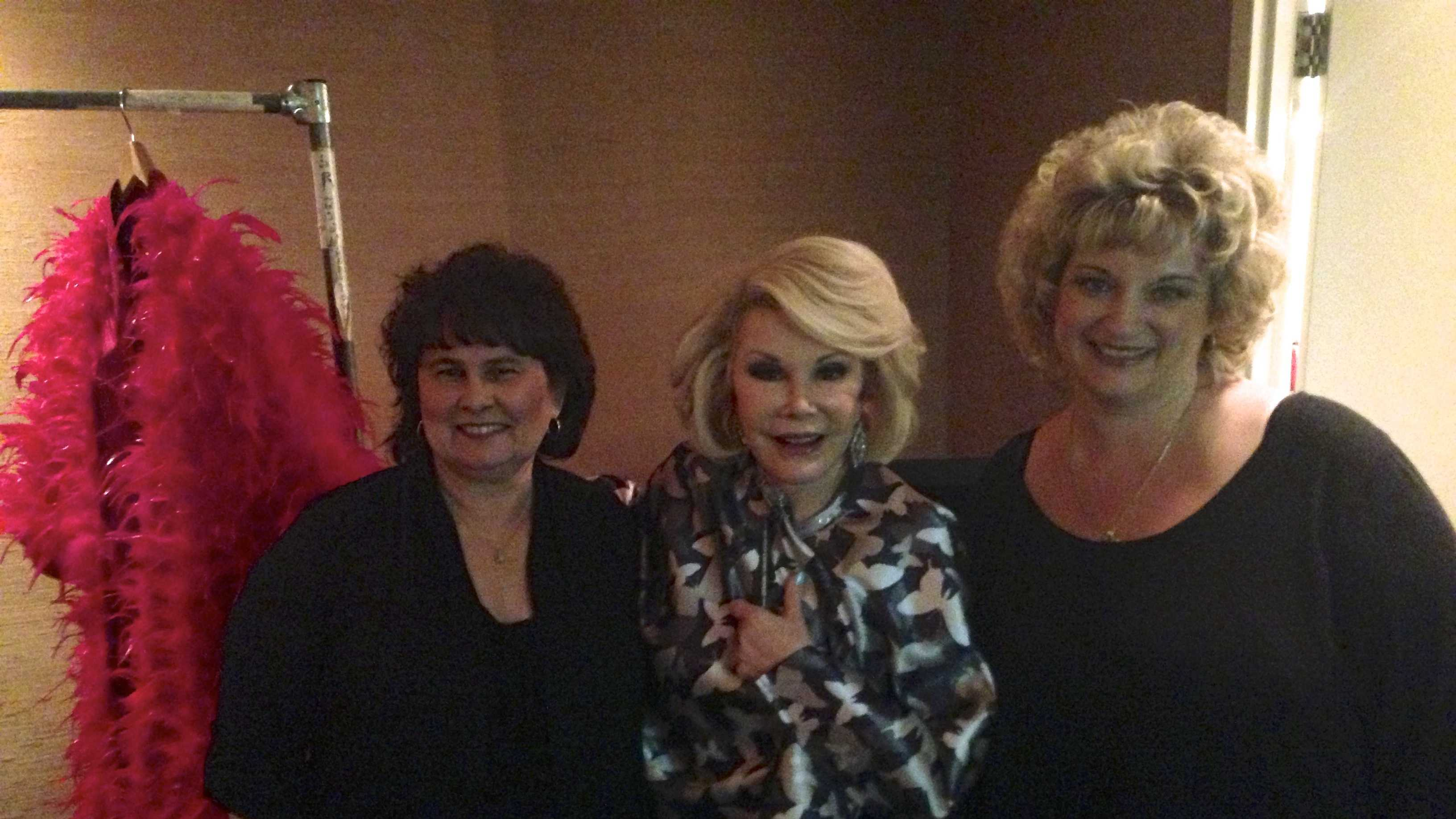 Deborah Pomeroy (left) and Angelene Fowler pose with the late comedian Joan Rivers.