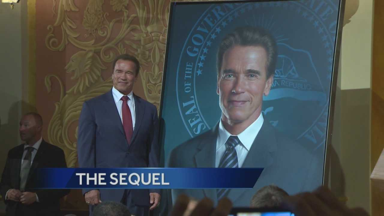 Former Gov. Arnold Schwarzenegger unveiled his governor portrait Monday, which will be placed next to former Gov. Gray Davis, at the state Capitol.