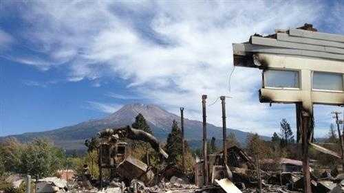 The remains of the Weed Community Center with Mt. Shasta in the background. (Sept. 16, 2014)