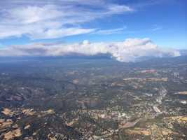 A LiveCopter view of the fire from Tuesday afternoon. When you compare it to Wednesday's photos, you can see how much the smoke situation has changed (Sept. 16, 2014).