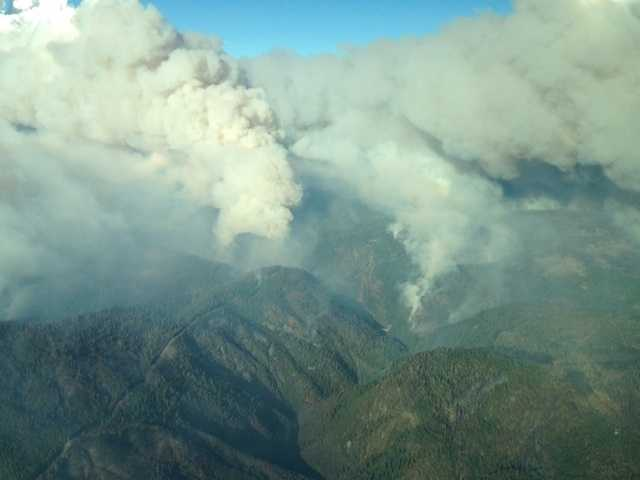 The King Fire, which started in Pollock Pines, is releasing a massive amount of smoke. KCRA 3 went up in LiveCopter on Wednesday evening for a bird's-eye look (Sept. 17, 2014).