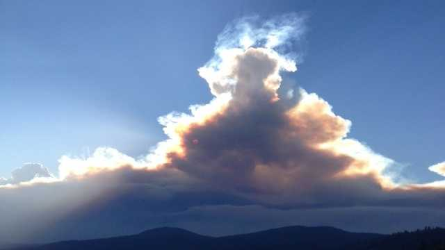 The King Fire continued burning Wednesday evening in El Dorado County. The blaze has torched nearly 28,000 acres. Here's a shot from North Lake Tahoe (Sept. 17, 2014).