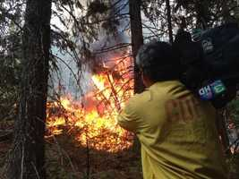 KCRA videographer Mike Domalaog gets close to the King Fire (Sept. 18, 2014).