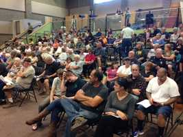 El Dorado County residents flocked to a meeting at a Foresthill school Thursday for a King Fire status update (Sept. 18, 2014).