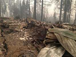 At least four homes in a neighborhood off White Meadows Road burned in the King Fire. (Sept. 19, 2014)