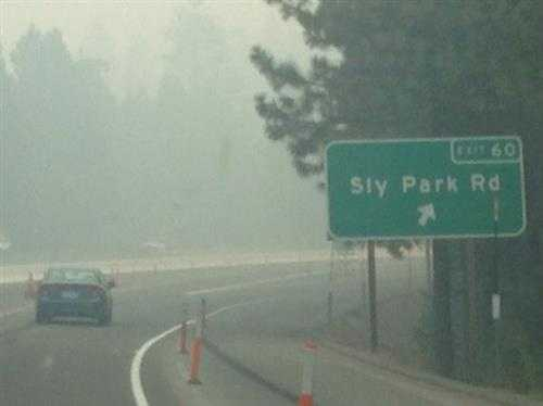 Smoky skies on Highway 50 at Sly Park Road. (Sept. 19, 2014)