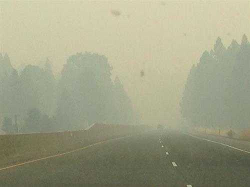 Smoky skies Friday on Highway 50. (Sept. 19, 2014)