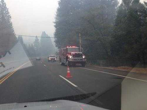 Fire trucks responding to the King Fire on Friday. (Brian Hickey/KCRA)