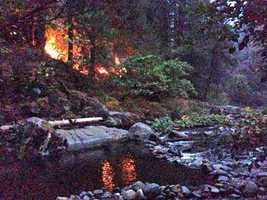 Flames from the King Fire came down to the river's edge at the Bridal Veil Picnic Area. (Sept. 19, 2014)