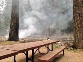 """Crews battling the King Fire """"drew a line in the sand"""" at the Bridal Veil picnic area on Friday. (Sept. 19, 2014)"""