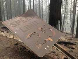 A charred speed limit sign not far from where homes burned in Pollock Pines. (Sept. 19, 2014)