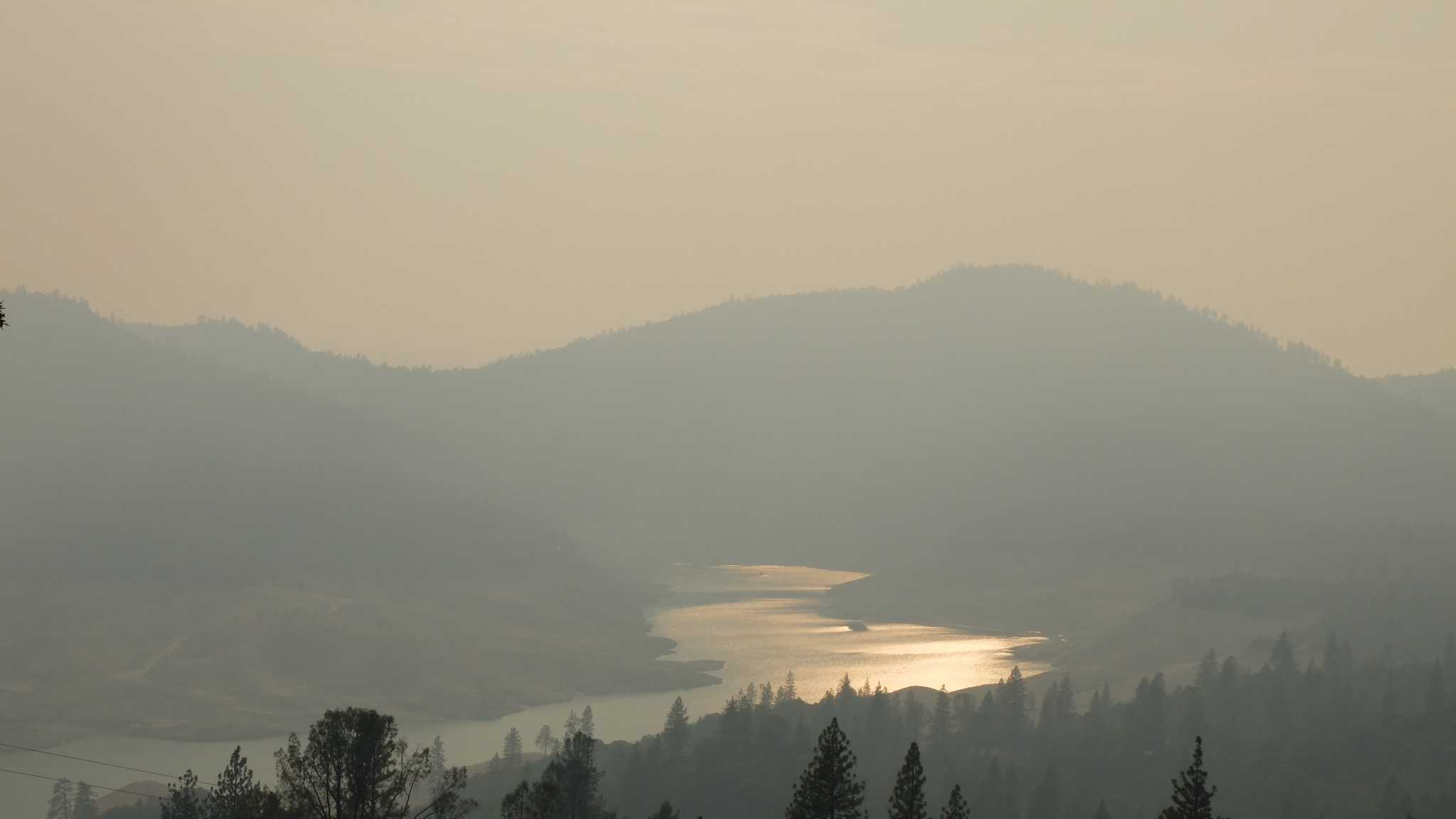 This is a view of the smoke at 5 p.m. Sunday from above the Enterprise Bridge in Feather Falls (Sept. 21, 2014).