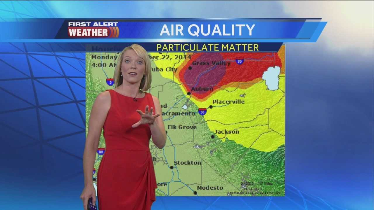 KCRA's Eileen Javora has the latest on the smoky conditions in the foothills caused by the massive King Fire.