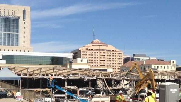 Crews are demolishing part of the Downtown Plaza mall to make room for a new arena.