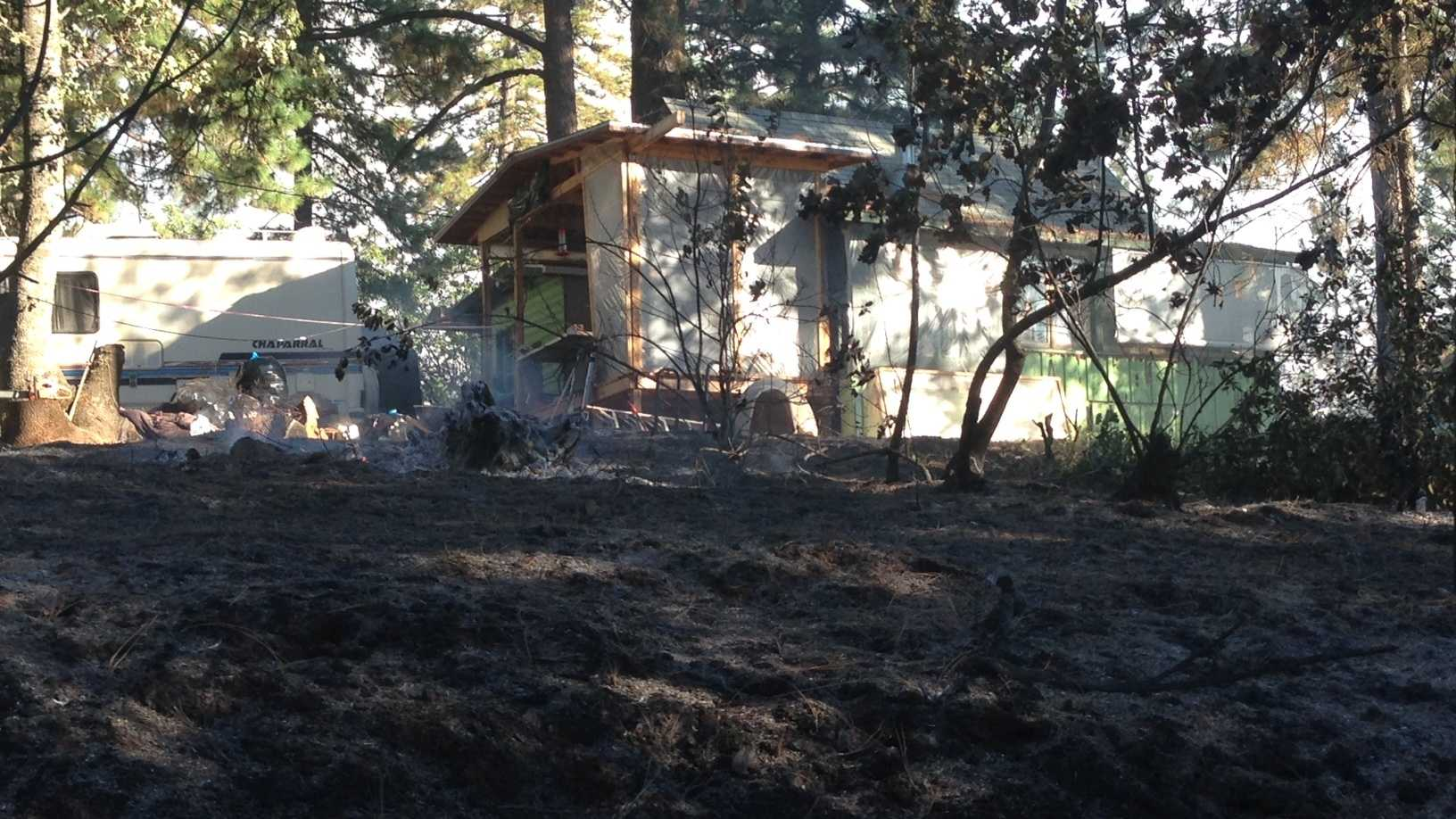 One of the spot fires came within several feet of a Placer County home Wednesday, but crews stopped that from happening (Oct. 8, 2014).